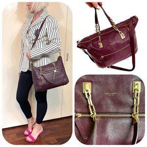 Henri Bendel leather maroon satchel/shoulder bag